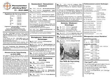 """Gottesdienstordnung für den Pfarrverband """"Oberberg Mitte"""" vom 1"""