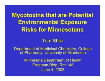 Mycotoxins that are Potential Environmental Exposure Risks