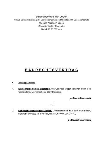 Baurechtsvertrag Parzelle 1345