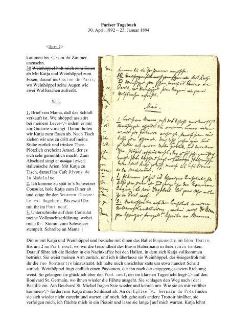 Pariser Tagebuch - bei der Frank Wedekind-Gesellschaft ...