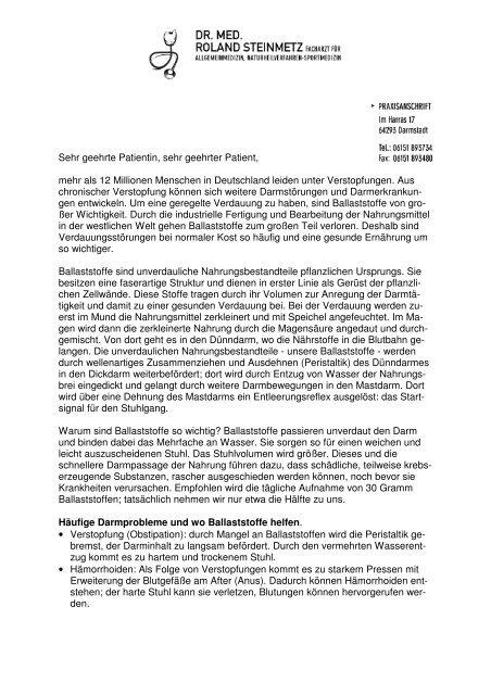 Verstopfungen Obstipation Dr Roland Steinmetz