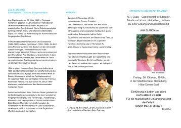 Al. I. Cuza – Gesellschaft für Literatur, Musik und ... - bianca herlo