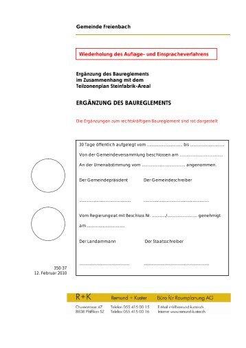 ERGÄNZUNG DES BAUREGLEMENTS - Gemeinde Freienbach