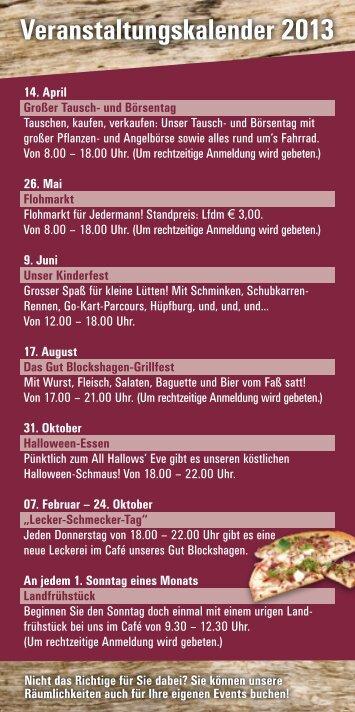 Veranstaltungskalender 2013 - Gut Blockshagen