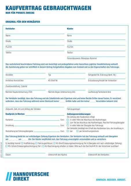 Kaufvertrag Gebrauchtwagen Pdf 01 Mb Hannoversche
