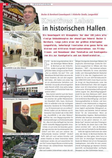 Kreatives Leben in historischen Hallen - Becker + Bernhard GmbH ...