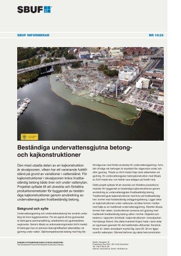 Beständiga undervattensgjutna betong- och kajkonstruktioner - SBUF