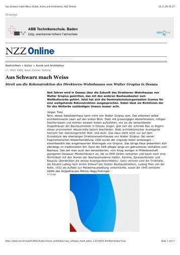 Aus Schwarz mach Weiss (Kultur, Kunst und Architektur, NZZ Online)