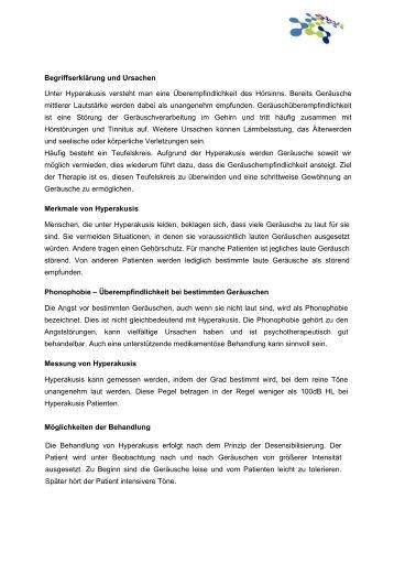 Patienteninformation Hyperakusis - Tinnituszentrum Regensburg