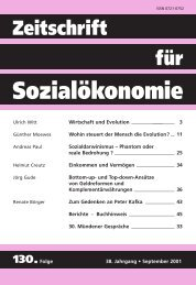 Wirtschaft und Evolution - Zeitschrift für Sozialökonomie