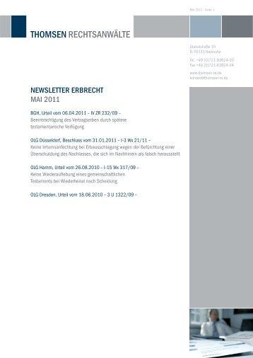 NewsleTTeR eRBReCHT MAi 2011 - Thomsen Rechtsanwälte