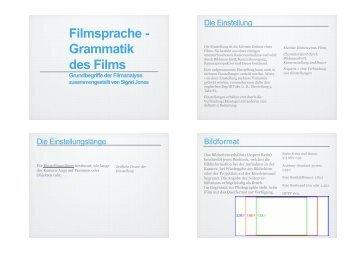 Filmsprache - Grammatik des Films