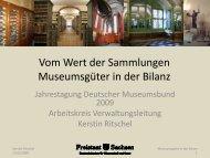 Vom Wert der Sammlungen Museumsgüter in der Bilanz