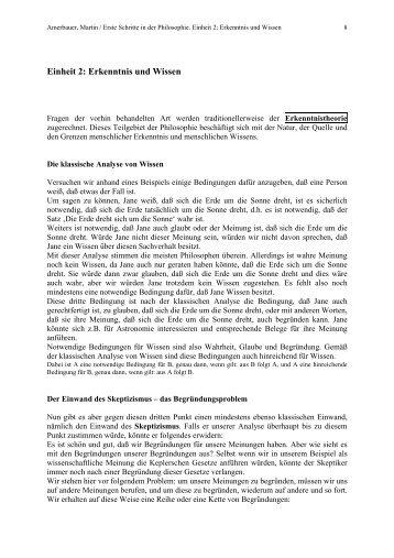 Einheit 2: Erkenntnis und Wissen - Amerbauer Martin