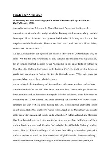 Friede oder Atomkrieg - Albert-Schweitzer-Freundeskreis Dresden