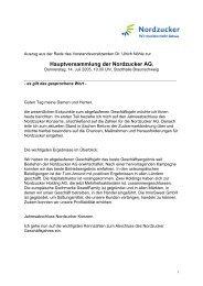 Rede VV zur Hauptversammlung 2005 - Nordzucker AG