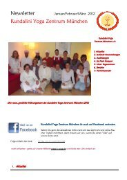 Newsletter Kundalini Yoga Zentrum München