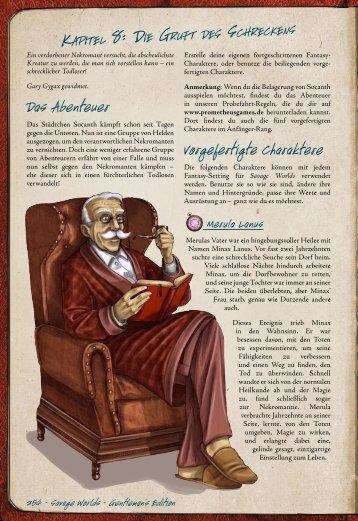 Das Abenteuer Vorgefertigte Charaktere - Prometheus Games
