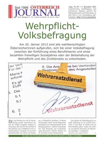 Wehrpflicht- Volksbefragung - Österreich Journal