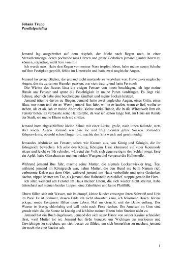 1 Johann Trupp Parallelgestalten Jemand lag ausgebreitet auf dem ...