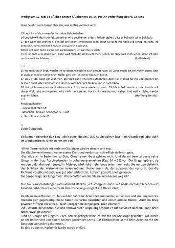 Predigt am 12. Mai 13 // Theo Enzner // Johannes 14, 15-19: Die ...