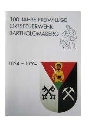 Festschrift Orstfeuerwehr Bartholomaeberg