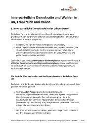 Innerparteiliche Demokratie und Wahlen in UK, Frankreich und Italien