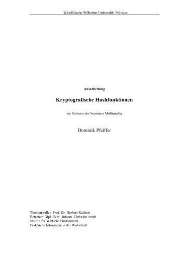 Kryptografische Hashfunktionen - Westfälische Wilhelms-Universität ...