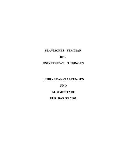 slavisches seminar der universität tübingen lehrveranstaltungen und ...