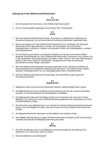 Satzung der Freien Wählerschaft Wackersdorf - Freie Wähler ...