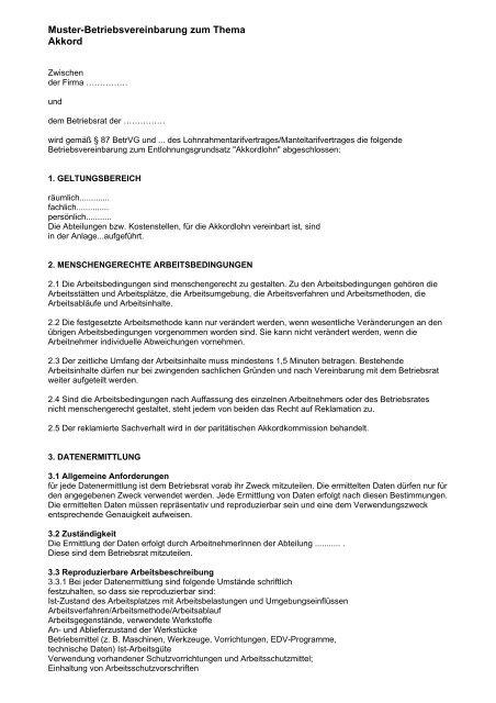 Muster Betriebsvereinbarung Als Pdf Br Wiki 8