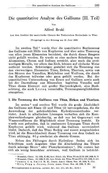 Die quantitative Analyse des Galliums (III. Teil)