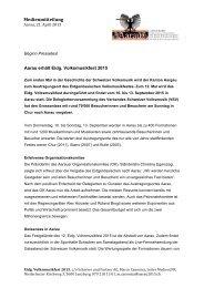 Medienmitteilung «Aarau erhält Eidg. Volksmusikfest ... - Aarau 2015