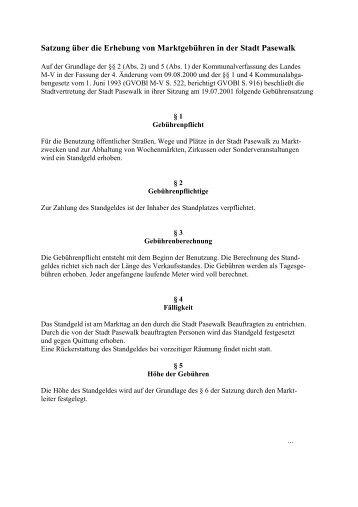 Gebührensatzung über die Erhebung von ... - Stadt Pasewalk