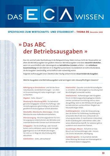 Das ABC der Betriebsausgaben