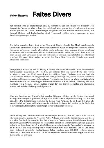 Volker Rapsch: Faites Divers - volker-rapsch.de