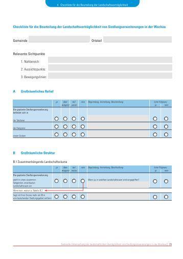 Checkliste für die Beurteilung der Landschaftsverträglichkeit von ...