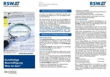 Kurzfristige Beschäftigung Was ist das? Kurzfristige ... - RSW AG