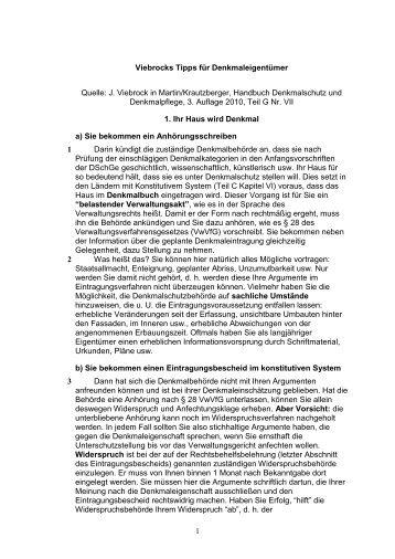 Tipps für Eigentümer von J. Viebrock, Hessen - Denkmalnetzbayern
