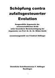 Schöpfung contra zufallsgesteuerter Evolution - Christliche ...