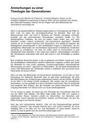 Anmerkungen zu einer Theologie der Generationen - zahnrad.org