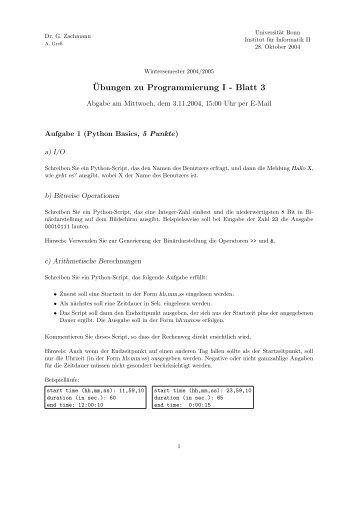¨Ubungen zu Programmierung I - Blatt 3
