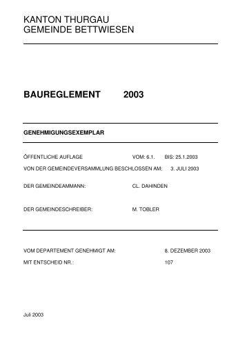 Baureglement 2003 - Gemeinde Bettwiesen
