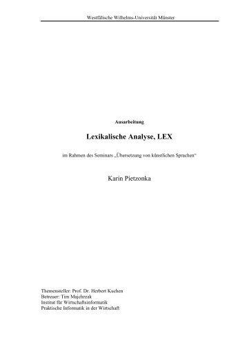 2 Lexikalische Analyse - Westfälische Wilhelms-Universität Münster