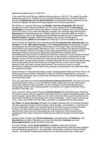 Bericht zur Sitzung am 2. März 2011 - FPÖ
