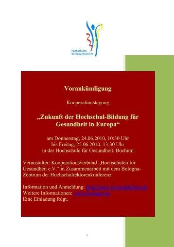 """Vorankündigung """"Zukunft der Hochschul-Bildung für Gesundheit in ..."""