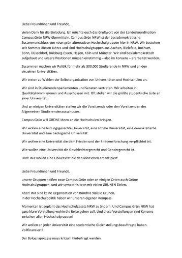 Rede CampusGrün 1 - Wolfgang Rettich