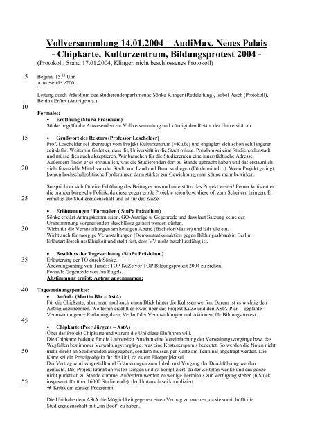 Vollversammlung 14.01.2004 – AudiMax, Neues Palais - Universität ...