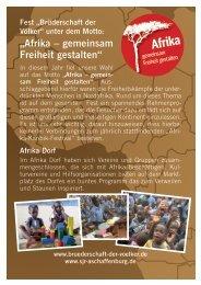 Das Programm im Afrika-Dorf - Brüderschaft der Völker Fest