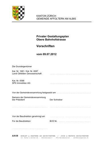 Vorschriften - Burlet & Partner AG Architekten, 8932 Mettmenstetten